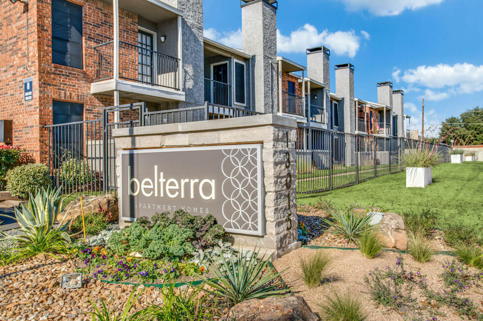 Beterra apartments sign surrounded by desert style landscaping.