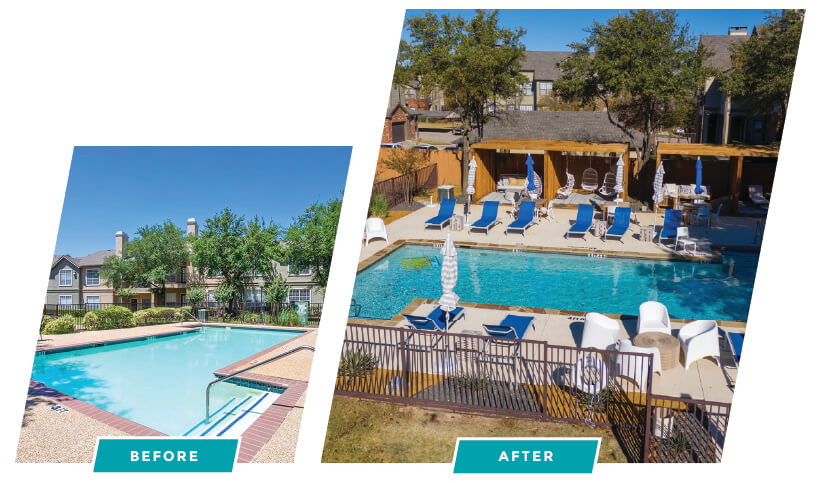 before and after image of pool area renovation