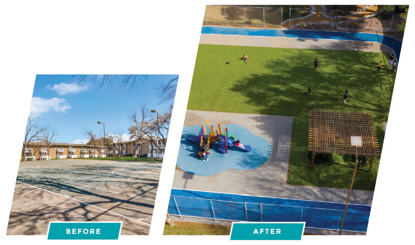 before and after image of sports court renovation