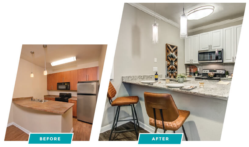 before and after image of interior renovation